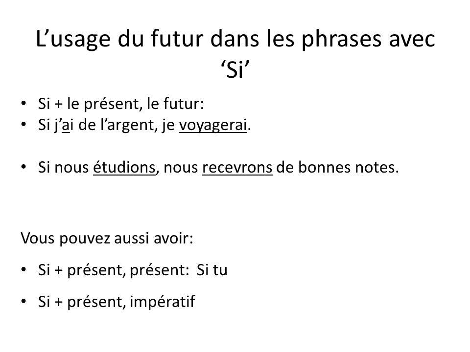 Lusage du futur dans les phrases avec Si Si + le présent, le futur: Si jai de largent, je voyagerai. Si nous étudions, nous recevrons de bonnes notes.