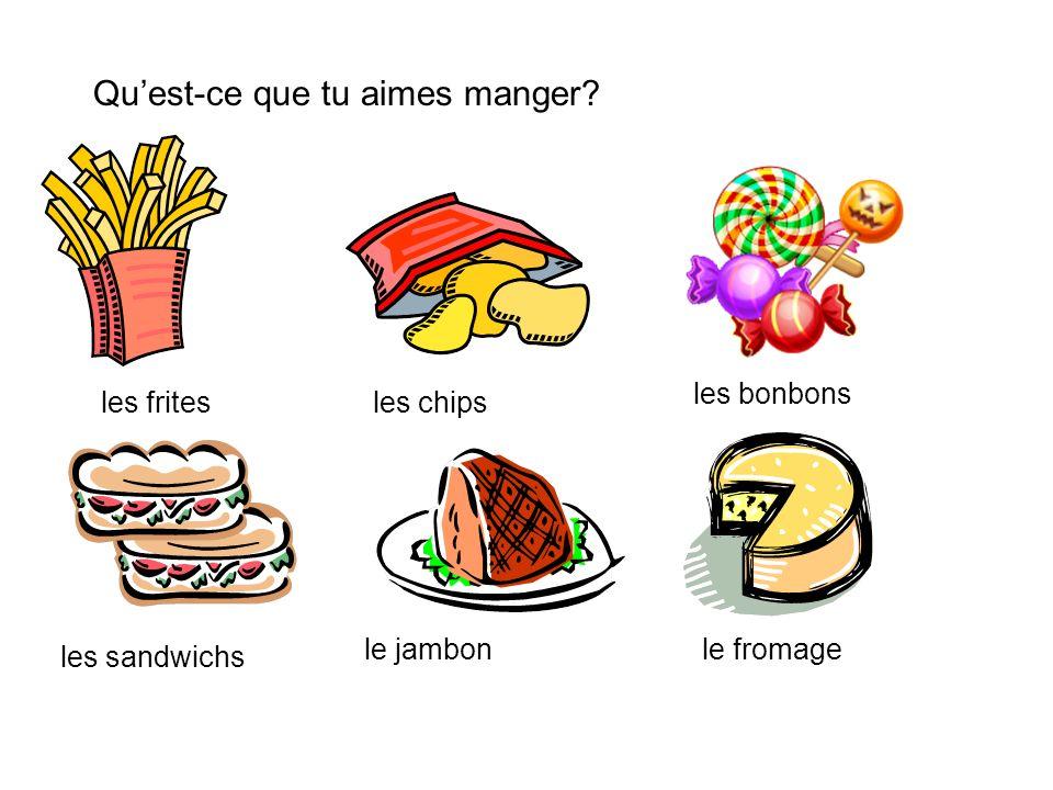 Quest-ce que tu aimes manger? les fritesles chips les bonbons les sandwichs le jambonle fromage