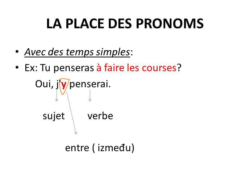 La négation Non, je ny penserai pas. ne pas La négation se place autour du pronom et du verbe.