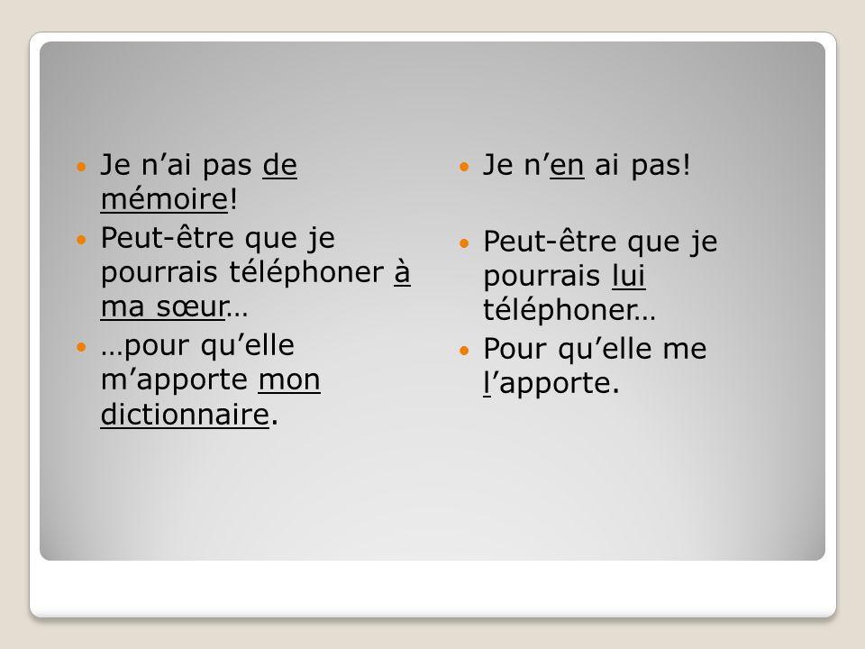 Je nai pas de mémoire! Peut-être que je pourrais téléphoner à ma sœur… …pour quelle mapporte mon dictionnaire. Je nen ai pas! Peut-être que je pourrai