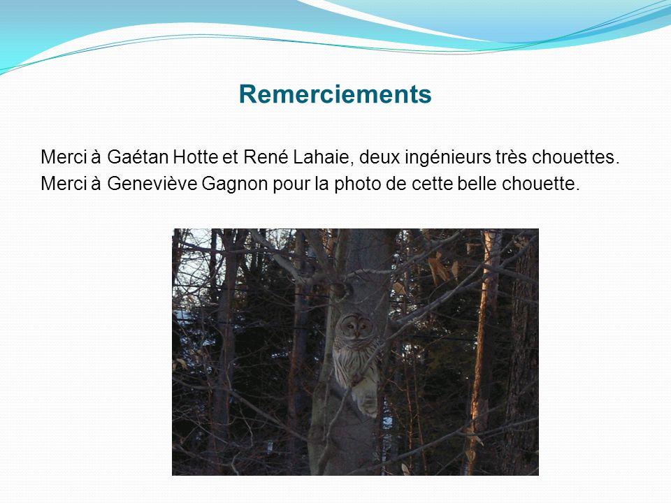 Merci à Gaétan Hotte et René Lahaie, deux ingénieurs très chouettes. Merci à Geneviève Gagnon pour la photo de cette belle chouette. Remerciements
