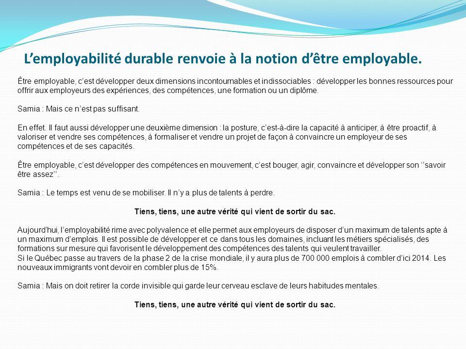 Lemployabilité durable renvoie à la notion dêtre employable. Être employable, cest développer deux dimensions incontournables et indissociables : déve