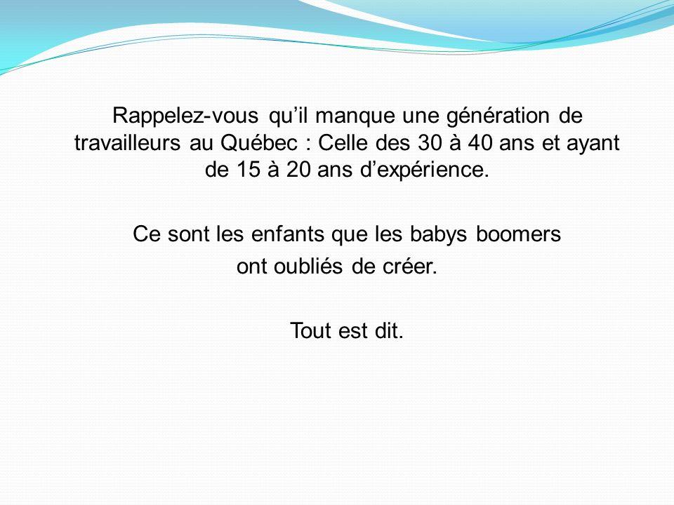 Rappelez-vous quil manque une génération de travailleurs au Québec : Celle des 30 à 40 ans et ayant de 15 à 20 ans dexpérience.