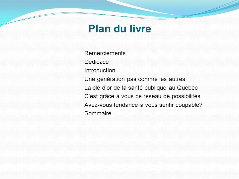 Remerciements Dédicace Introduction Une génération pas comme les autres La clé dor de la santé publique au Québec Cest grâce à vous ce réseau de possibilités Avez-vous tendance à vous sentir coupable.