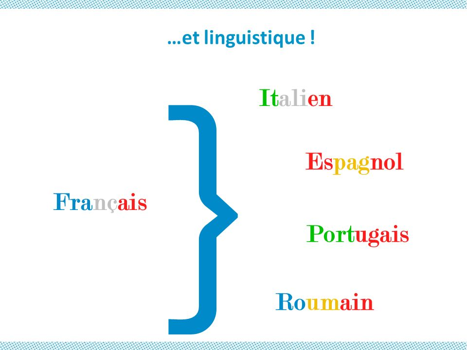 …et linguistique ! Français Espagnol Roumain Italien Portugais } …et linguistique !