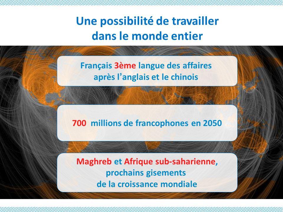 Une possibilité de travailler dans le monde entier 700 millions de francophones en 2050 Maghreb et Afrique sub-saharienne, prochains gisements de la c