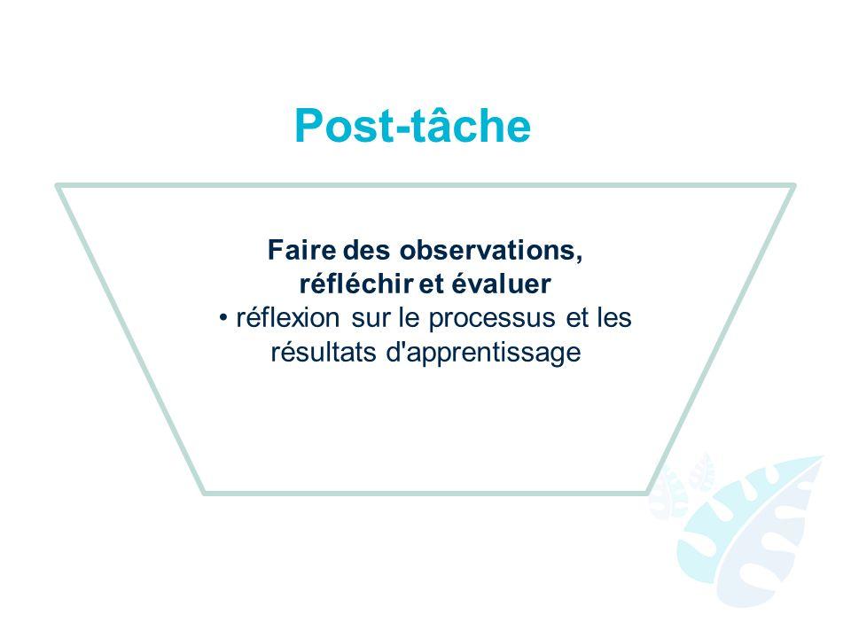 Post-tâche Faire des observations, réfléchir et évaluer réflexion sur le processus et les résultats d'apprentissage