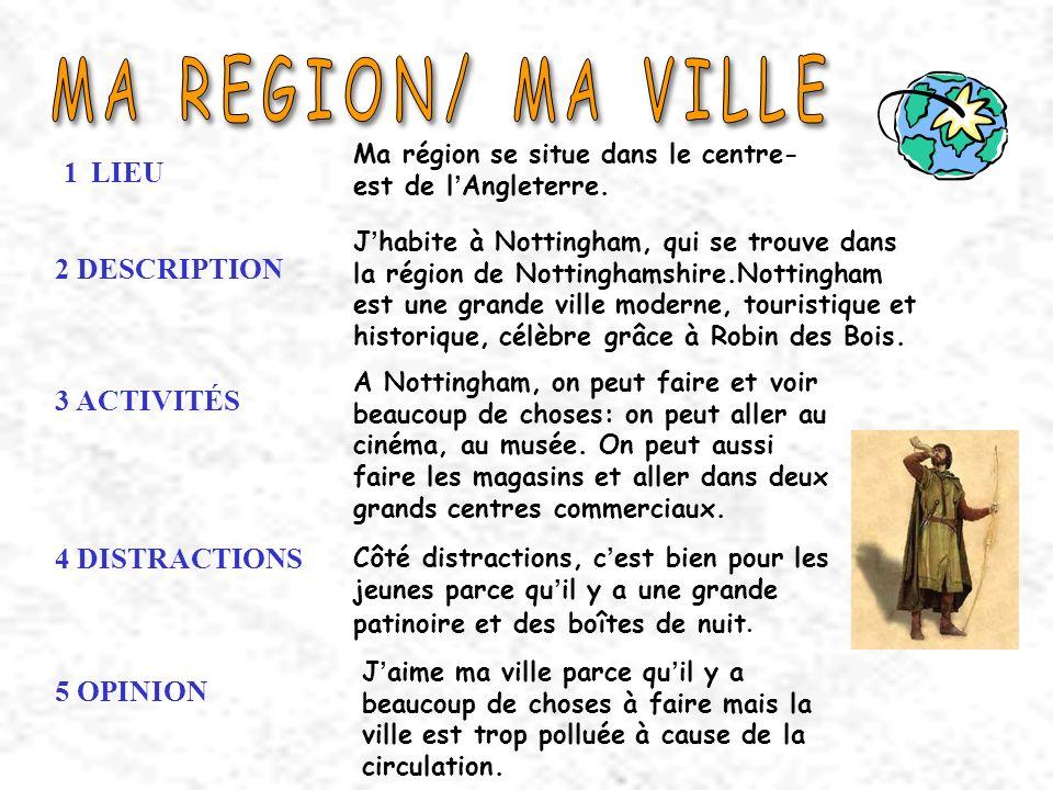 1 LIEU Ma région se situe dans le centre- est de l Angleterre. 2 DESCRIPTION J habite à Nottingham, qui se trouve dans la région de Nottinghamshire.No