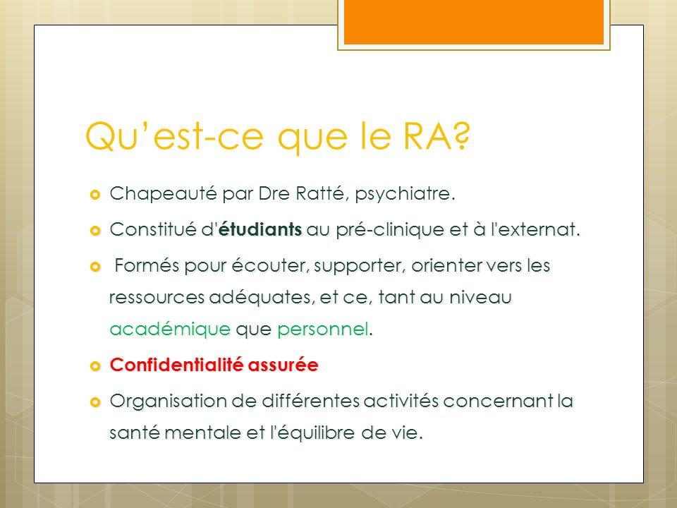 Quest-ce que le RA? Chapeauté par Dre Ratté, psychiatre. Constitué d' étudiants au pré-clinique et à l'externat. Constitué d' étudiants au pré-cliniqu