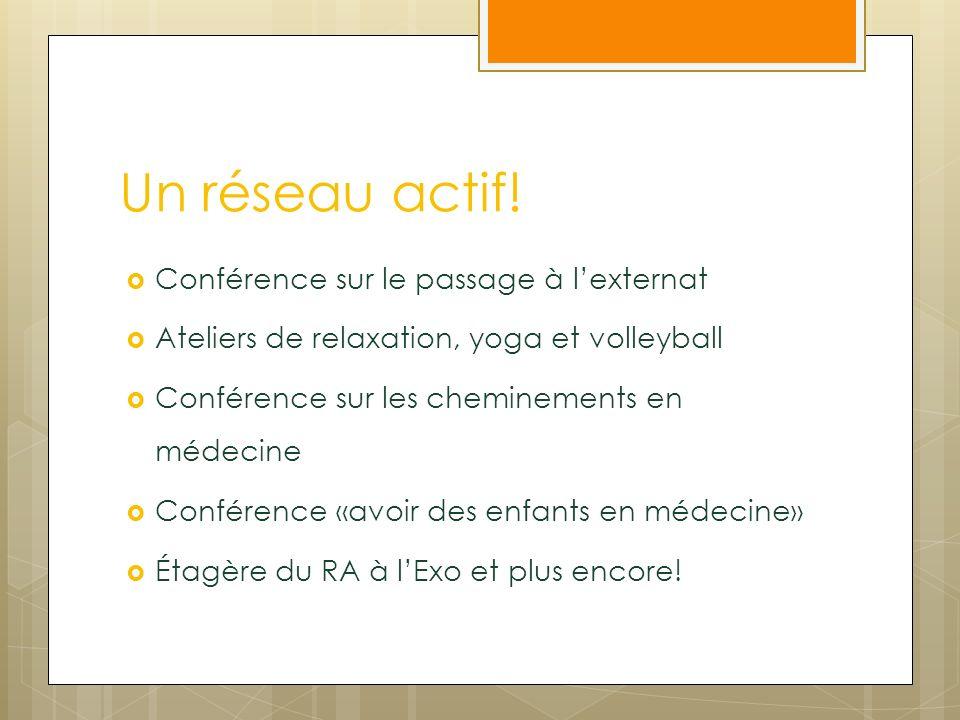 Un réseau actif! Conférence sur le passage à lexternat Ateliers de relaxation, yoga et volleyball Conférence sur les cheminements en médecine Conféren