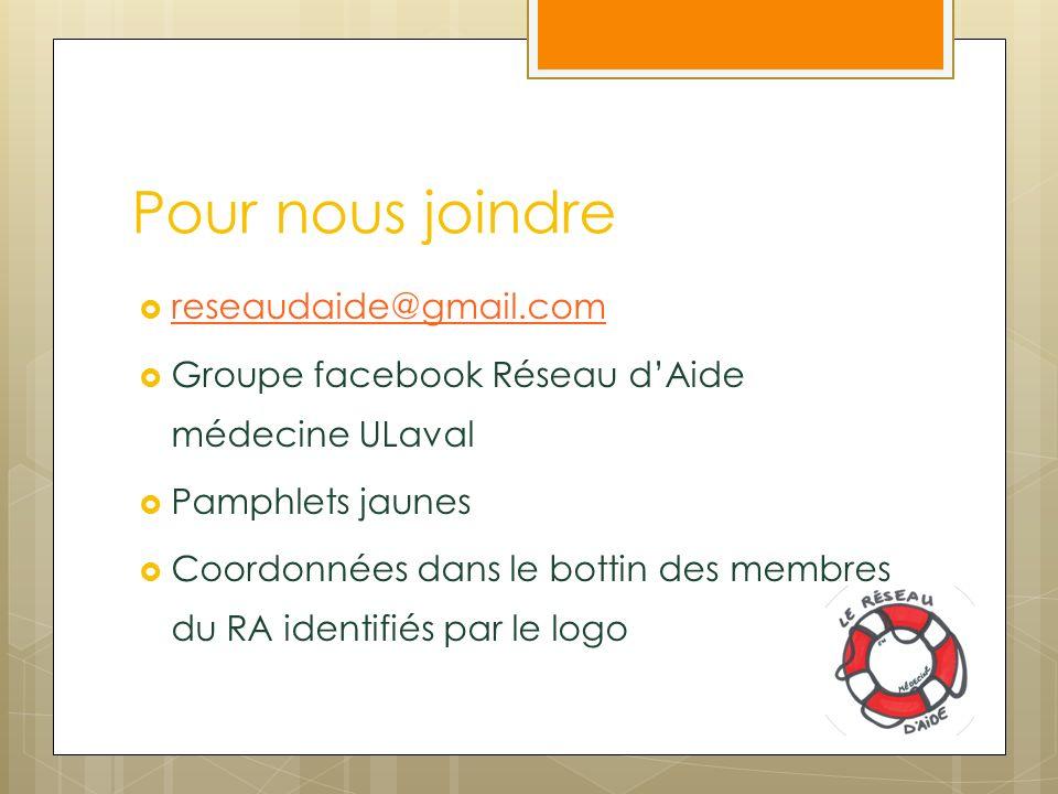 Pour nous joindre reseaudaide@gmail.com Groupe facebook Réseau dAide médecine ULaval Pamphlets jaunes Coordonnées dans le bottin des membres du RA identifiés par le logo