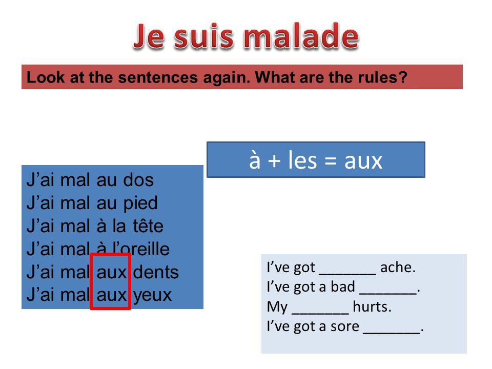 au dos au pied au ventre au nez à loeil Match the French to the English to say what is wrong.
