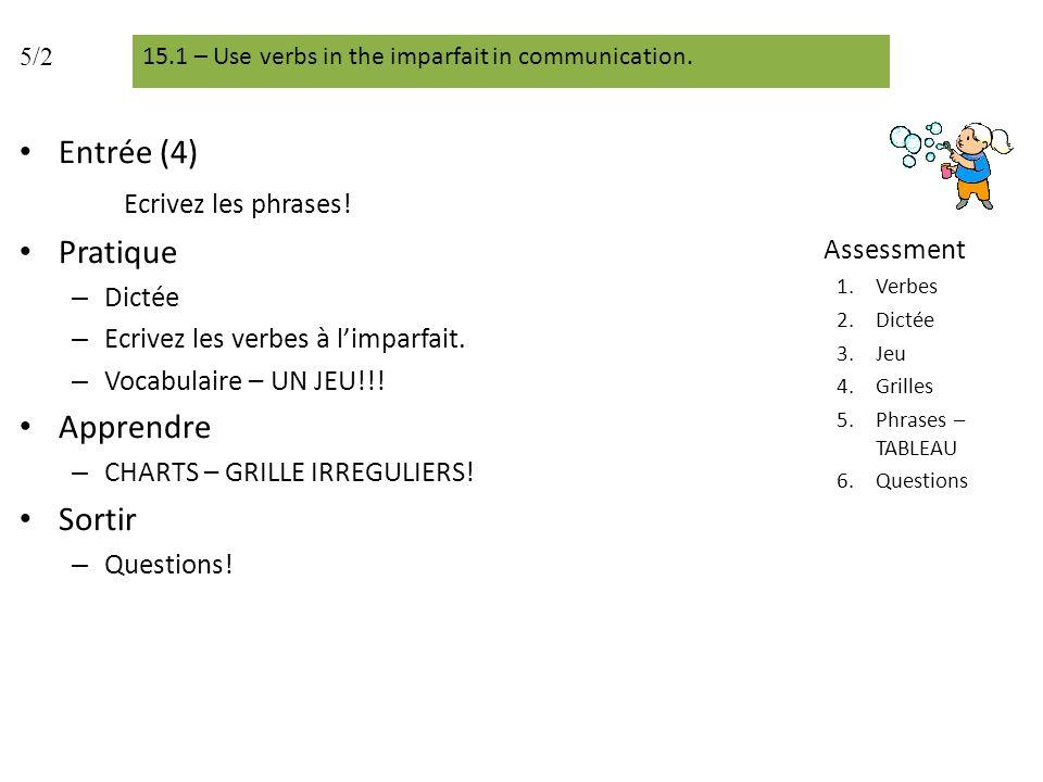 Entrée (4) Ecrivez les phrases! Pratique – Dictée – Ecrivez les verbes à limparfait. – Vocabulaire – UN JEU!!! Apprendre – CHARTS – GRILLE IRREGULIERS