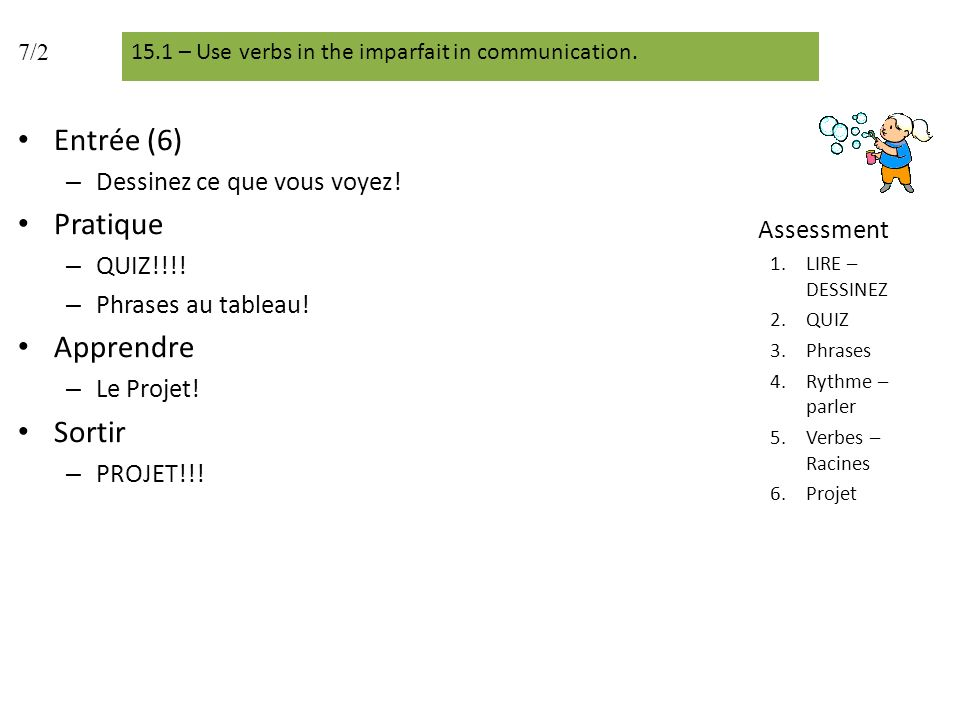 Entrée (6) – Dessinez ce que vous voyez! Pratique – QUIZ!!!! – Phrases au tableau! Apprendre – Le Projet! Sortir – PROJET!!! Assessment 1.LIRE – DESSI