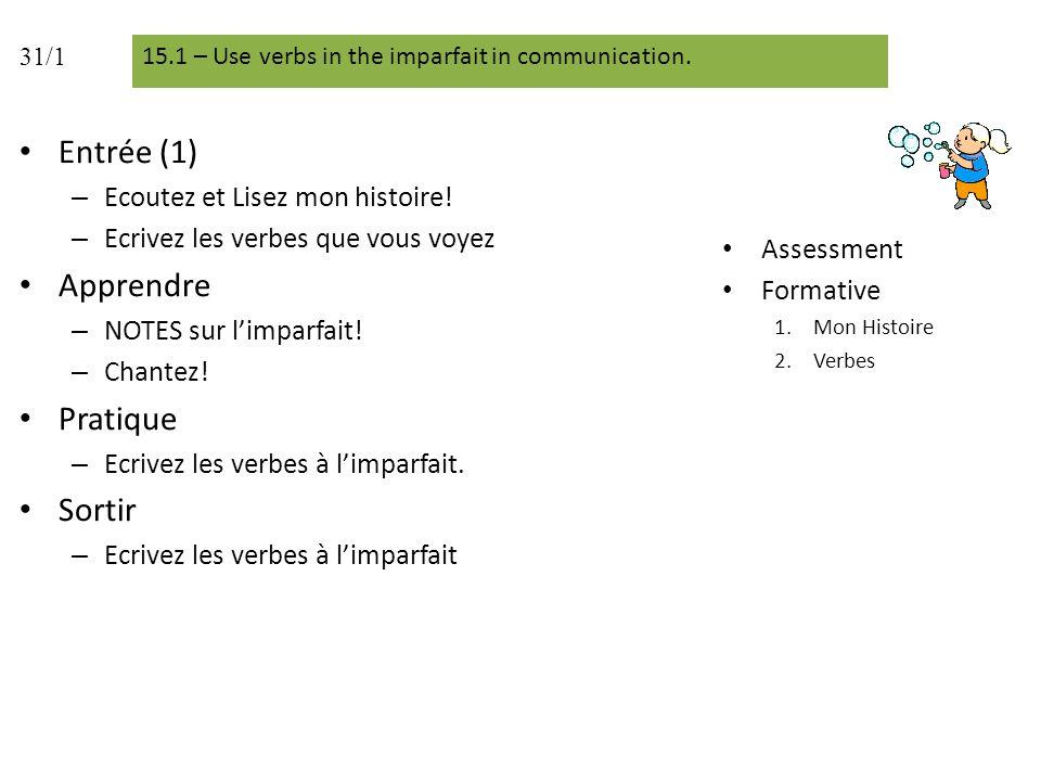 Entrée (4) Ecrivez les phrases.Pratique – Dictée – Ecrivez les verbes à limparfait.