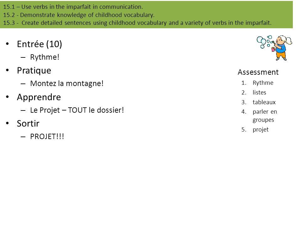 Entrée (10) – Rythme! Pratique – Montez la montagne! Apprendre – Le Projet – TOUT le dossier! Sortir – PROJET!!! Assessment 1.Rythme 2.listes 3.tablea