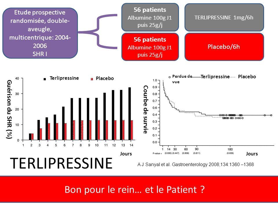 Bon pour le rein… et le Patient ? Jours Guérison du SHR (%) Terlipressine Placebo Jours Courbe de survie PlaceboTerlipressine Perdue de vue A J Sanyal