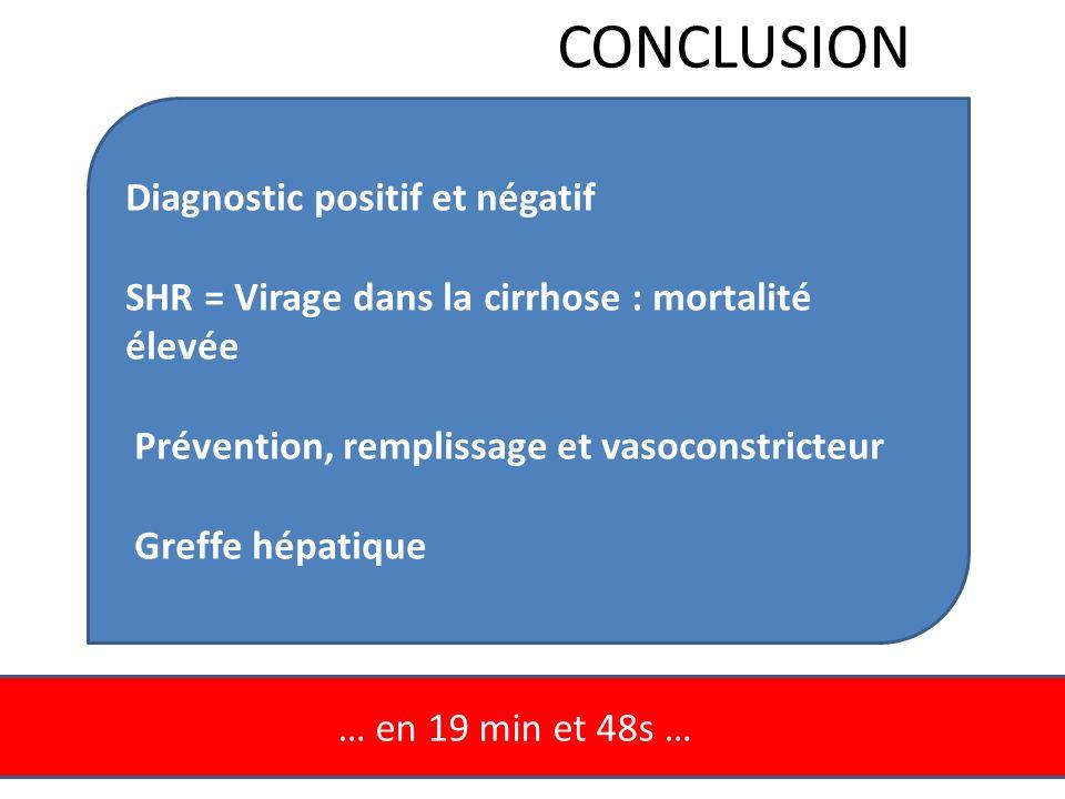 … en 19 min et 48s … CONCLUSION Diagnostic positif et négatif SHR = Virage dans la cirrhose : mortalité élevée Prévention, remplissage et vasoconstric