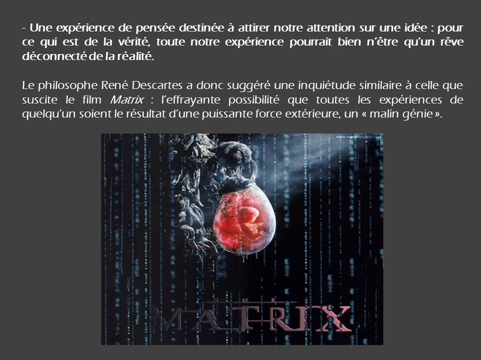 - Une expérience de pensée destinée à attirer notre attention sur une idée : pour ce qui est de la vérité, toute notre expérience pourrait bien nêtre