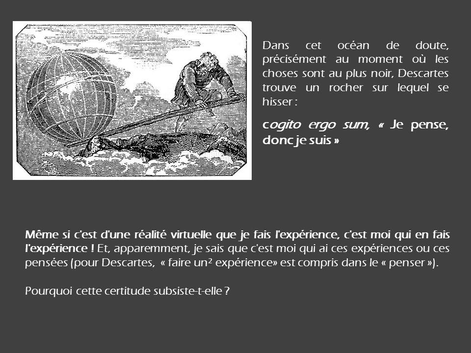 Dans cet océan de doute, précisément au moment où les choses sont au plus noir, Descartes trouve un rocher sur lequel se hisser : cogito ergo sum, « J