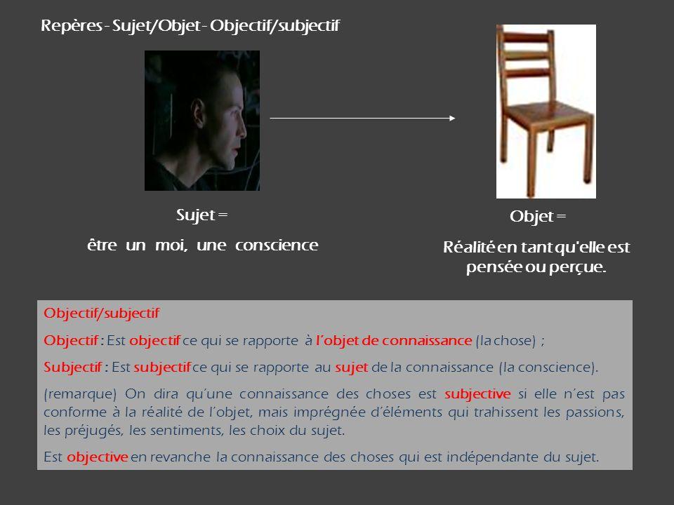 Repères - Sujet/Objet - Objectif/subjectif Objectif/subjectif Objectif : Est objectif ce qui se rapporte à lobjet de connaissance (la chose) ; Subject