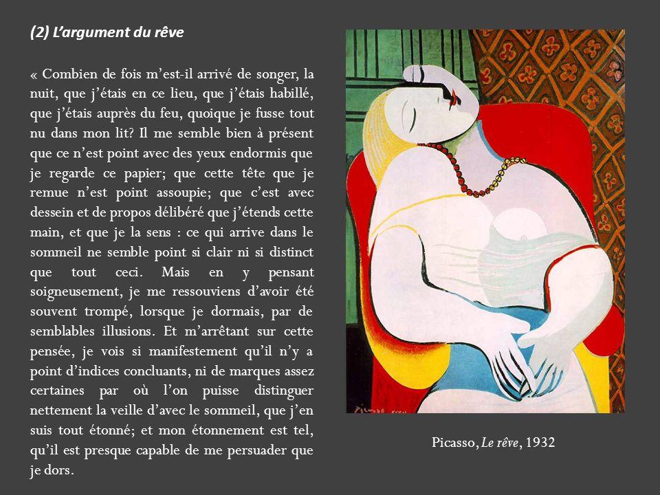 Picasso, Le rêve, 1932 (2) Largument du rêve « Combien de fois mest-il arrivé de songer, la nuit, que jétais en ce lieu, que jétais habillé, que jétai