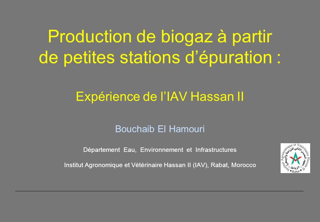 Production de biogaz à partir de petites stations dépuration : Expérience de lIAV Hassan II Bouchaib El Hamouri Département Eau, Environnement et Infrastructures Institut Agronomique et Vétérinaire Hassan II (IAV), Rabat, Morocco