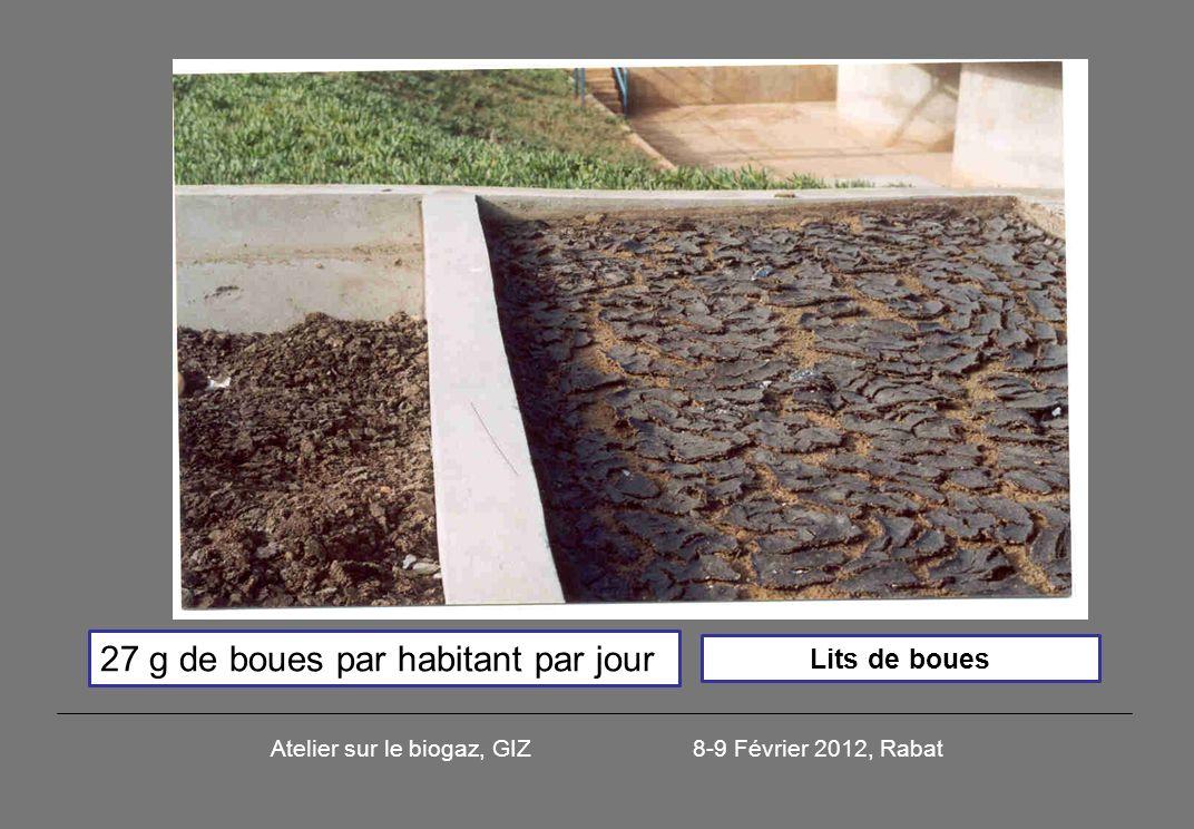 Lits de boues 27 g de boues par habitant par jour