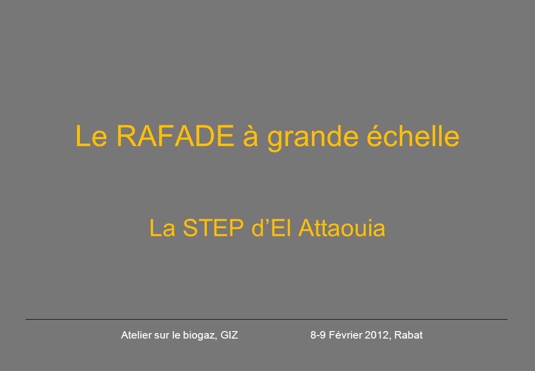 Le RAFADE à grande échelle La STEP dEl Attaouia Atelier sur le biogaz, GIZ 8-9 Février 2012, Rabat