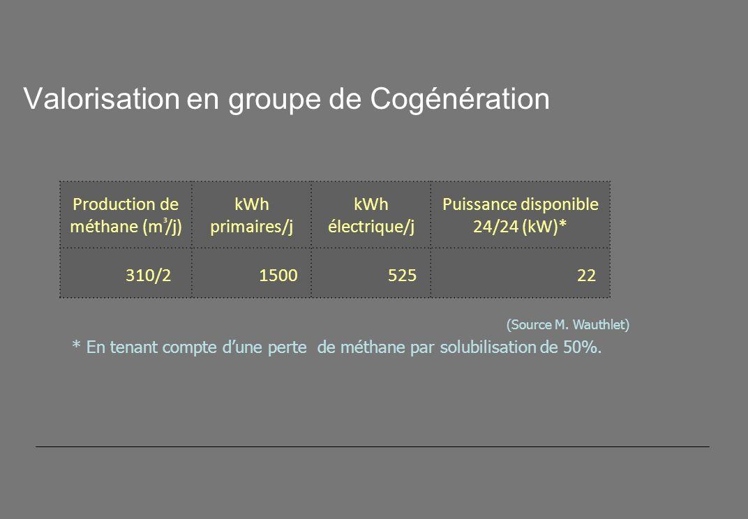 Valorisation en groupe de Cogénération Production de méthane (m ³ /j) kWh primaires/j kWh électrique/j Puissance disponible 24/24 (kW)* 310/2 1500 525 22 (Source M.