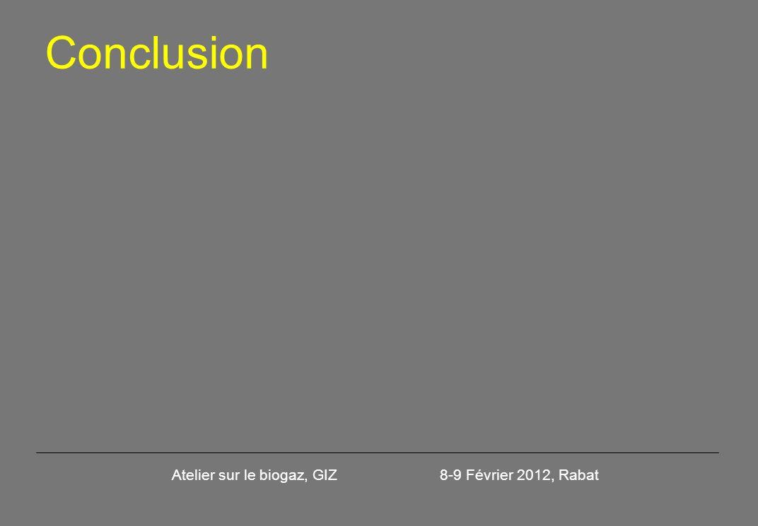 Conclusion Atelier sur le biogaz, GIZ 8-9 Février 2012, Rabat