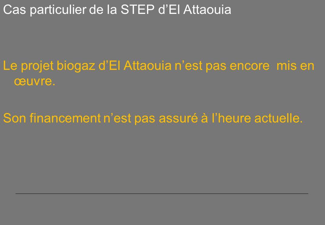 Cas particulier de la STEP dEl Attaouia Le projet biogaz dEl Attaouia nest pas encore mis en œuvre.