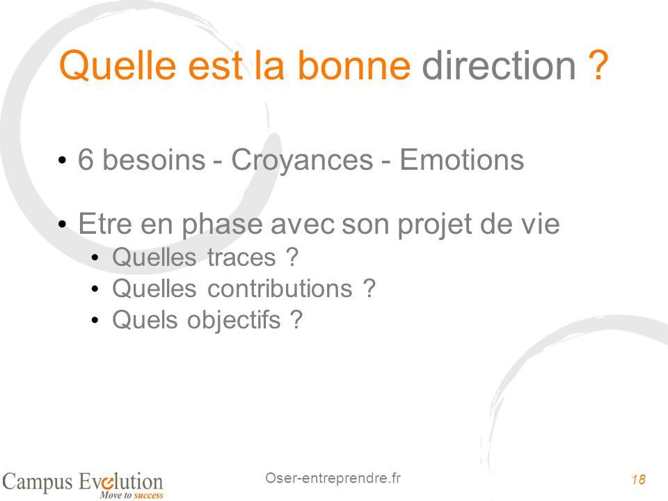 18 Oser-entreprendre.fr Quelle est la bonne direction ? 6 besoins - Croyances - Emotions Etre en phase avec son projet de vie Quelles traces ? Quelles