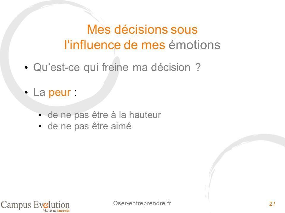 21 Oser-entreprendre.fr Mes décisions sous l'influence de mes émotions Quest-ce qui freine ma décision ? La peur : de ne pas être à la hauteur de ne p
