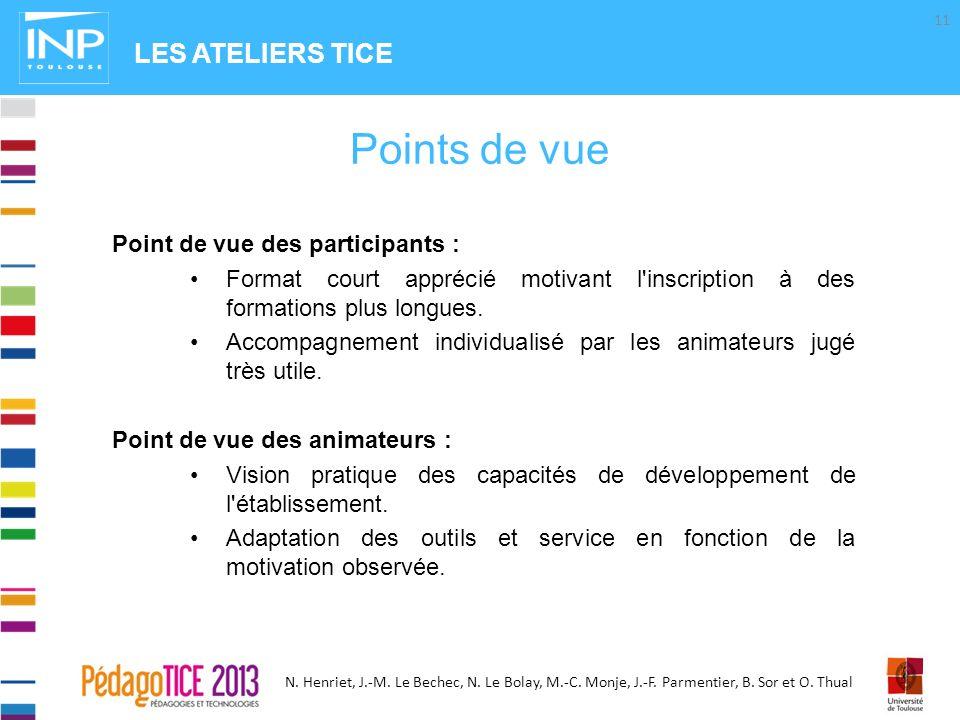 N. Henriet, J.-M. Le Bechec, N. Le Bolay, M.-C. Monje, J.-F. Parmentier, B. Sor et O. Thual Point de vue des participants : Format court apprécié moti