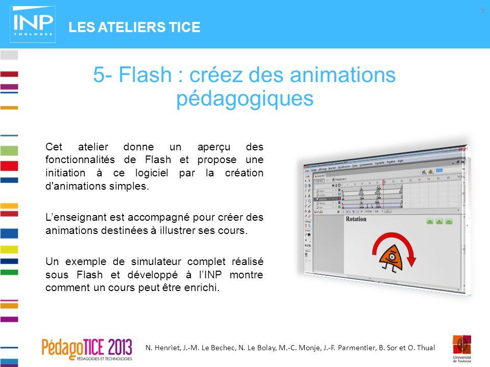 N. Henriet, J.-M. Le Bechec, N. Le Bolay, M.-C. Monje, J.-F. Parmentier, B. Sor et O. Thual Cet atelier donne un aperçu des fonctionnalités de Flash e