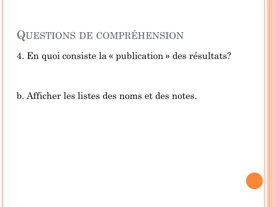 Q UESTIONS DE COMPRÉHENSION 5.Que font les candidats aussitôt quils ont leurs résultats.