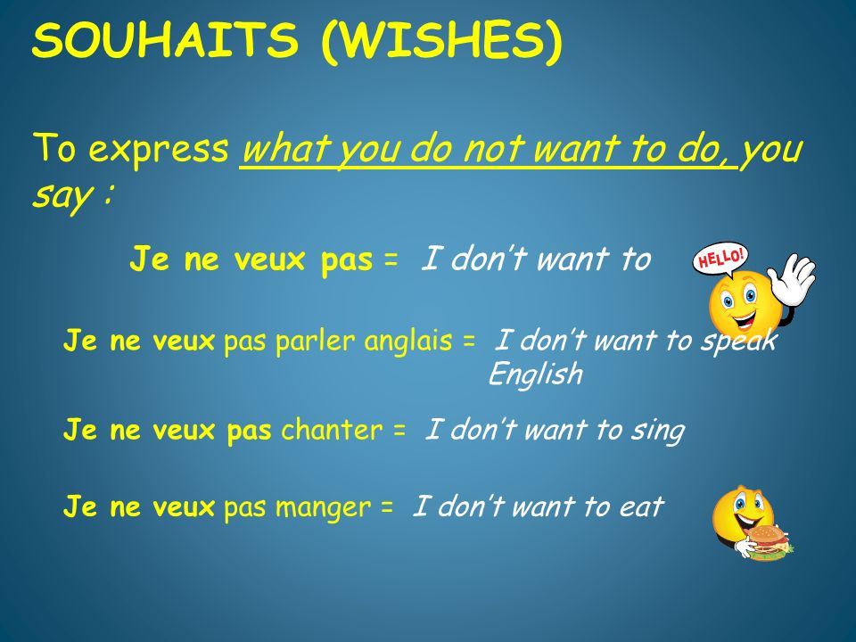 SOUHAITS (WISHES) To express what you do not want to do, you say : Je ne veux pas = I dont want to Je ne veux pas parler anglais = I dont want to speak English Je ne veux pas chanter = I dont want to sing Je ne veux pas manger = I dont want to eat