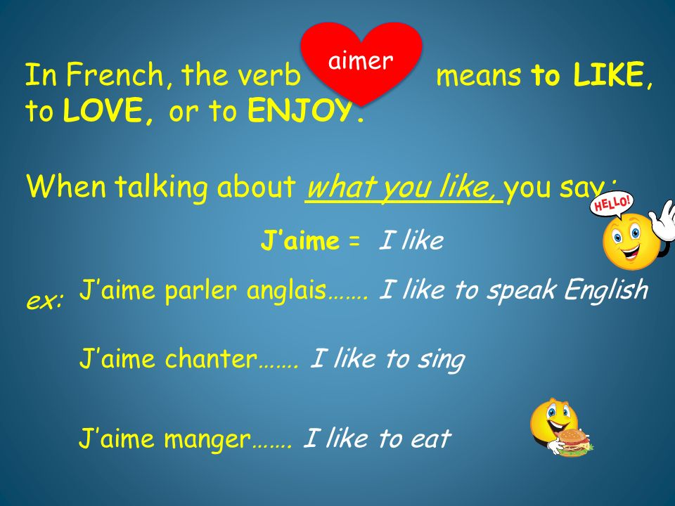 When talking about what you dont like, you say: aimer Je naime pas parler anglais..
