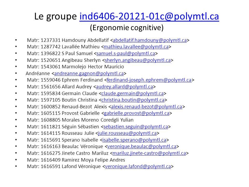 Le groupe ind6406-20121-01c@polymtl.ca (Ergonomie cognitive)ind6406-20121-01c@polymtl.ca Matr: 1237331 Hamdouny Abdellatif abdellatif.hamdouny@polymtl