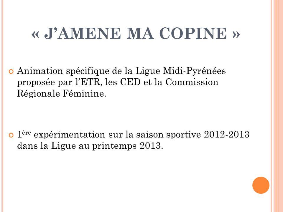 « JAMENE MA COPINE » Animation spécifique de la Ligue Midi-Pyrénées proposée par lETR, les CED et la Commission Régionale Féminine. 1 ère expérimentat