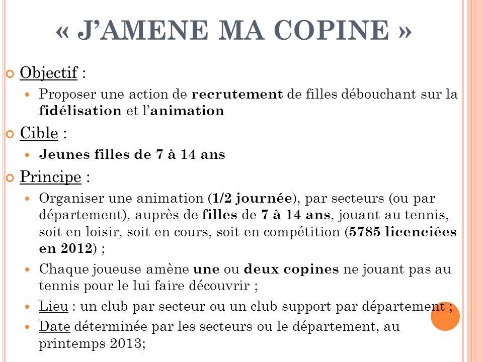 « JAMENE MA COPINE » Objectif : Proposer une action de recrutement de filles débouchant sur la fidélisation et l animation Cible : Jeunes filles de 7
