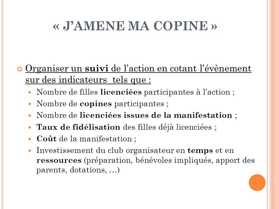 « JAMENE MA COPINE » Organiser un suivi de laction en cotant lévènement sur des indicateurs tels que : Nombre de filles licenciées participantes à lac