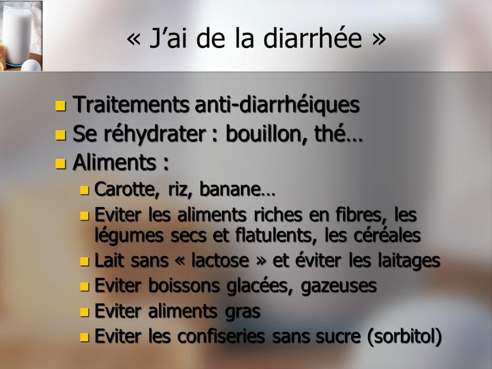 « Jai de la diarrhée » Traitements anti-diarrhéiques Traitements anti-diarrhéiques Se réhydrater : bouillon, thé… Se réhydrater : bouillon, thé… Alime