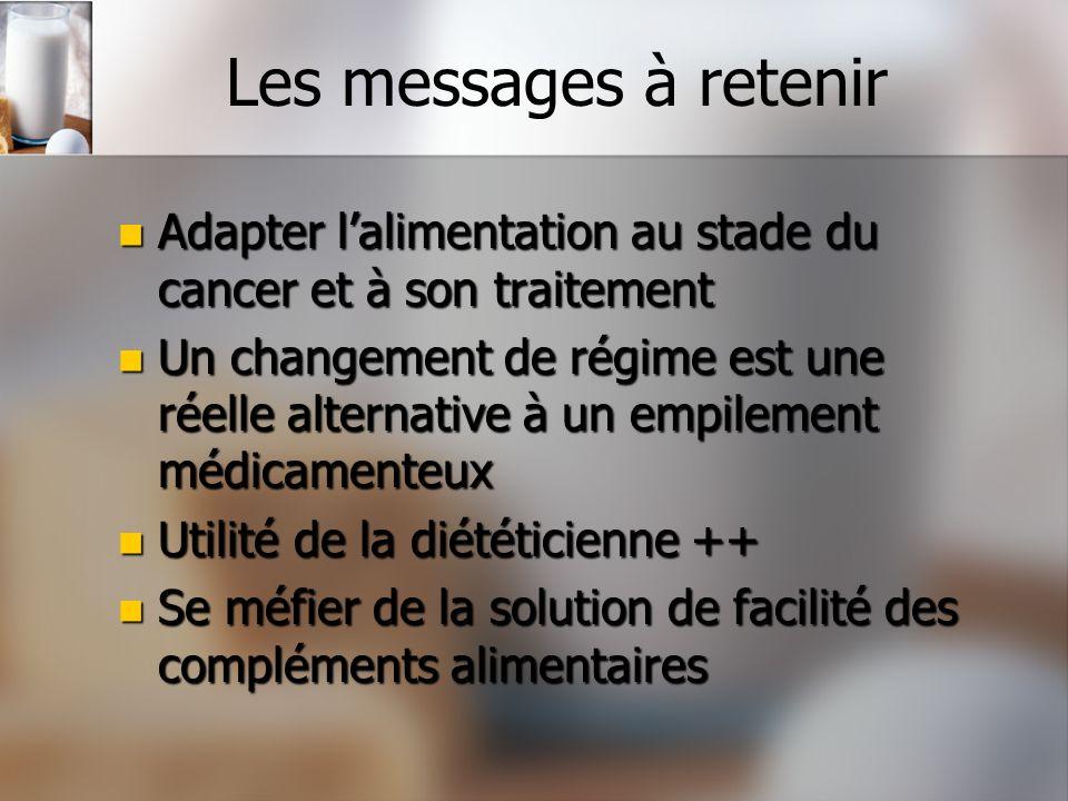 Les messages à retenir Adapter lalimentation au stade du cancer et à son traitement Adapter lalimentation au stade du cancer et à son traitement Un ch
