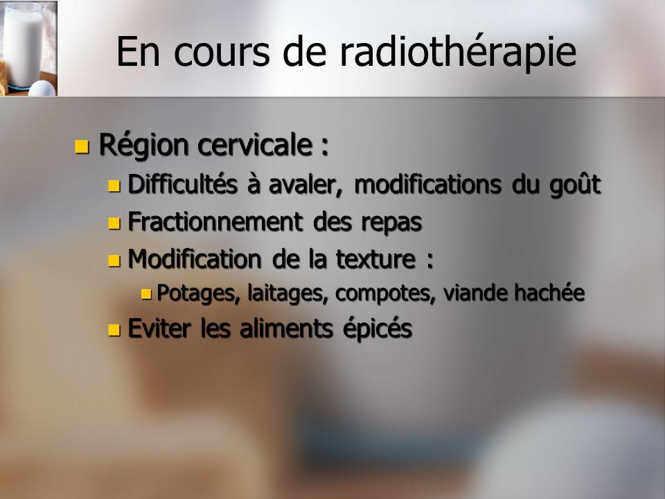 En cours de radiothérapie Région cervicale : Région cervicale : Difficultés à avaler, modifications du goût Difficultés à avaler, modifications du goû