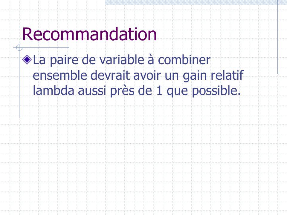 Recommandation La paire de variable à combiner ensemble devrait avoir un gain relatif lambda aussi près de 1 que possible.