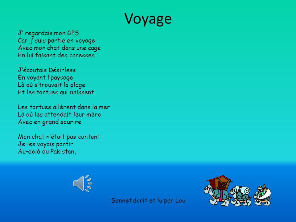 Voyage J regardais mon GPS Car j suis partie en voyage Avec mon chat dans une cage En lui faisant des caresses Jécoutais Désirless En voyant lpaysage Là où strouvait la plage Et les tortues qui naissent.