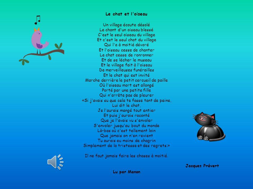 Le chat et l oiseau Un village écoute désolé Le chant d un oiseau blessé C est le seul oiseau du village Et c est le seul chat du village Qui l a à moitié dévoré Et l oiseau cesse de chanter Le chat cesse de ronronner Et de se lécher le museau Et le village fait à l oiseau De merveilleuses funérailles Et le chat qui est invité Marche derrière le petit cercueil de paille Où l oiseau mort est allongé Porté par une petite fille Qui n arrête pas de pleurer «Si j avais su que cela te fasse tant de peine, Lui dit le chat, Je l aurais mangé tout entier Et puis j aurais raconté Que je l avais vu s envoler S envoler jusqu au bout du monde Là-bas où c est tellement loin Que jamais on n en revient Tu aurais eu moins de chagrin Simplement de la tristesse et des regrets.» Il ne faut jamais faire les choses à moitié.