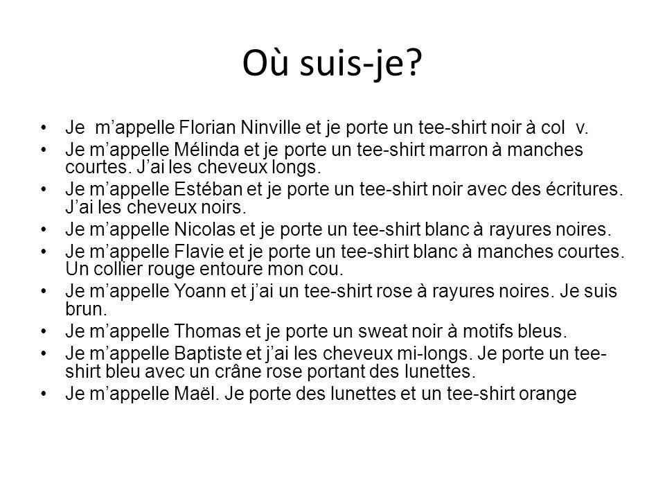 Où suis-je? Je mappelle Florian Ninville et je porte un tee-shirt noir à col v. Je mappelle Mélinda et je porte un tee-shirt marron à manches courtes.
